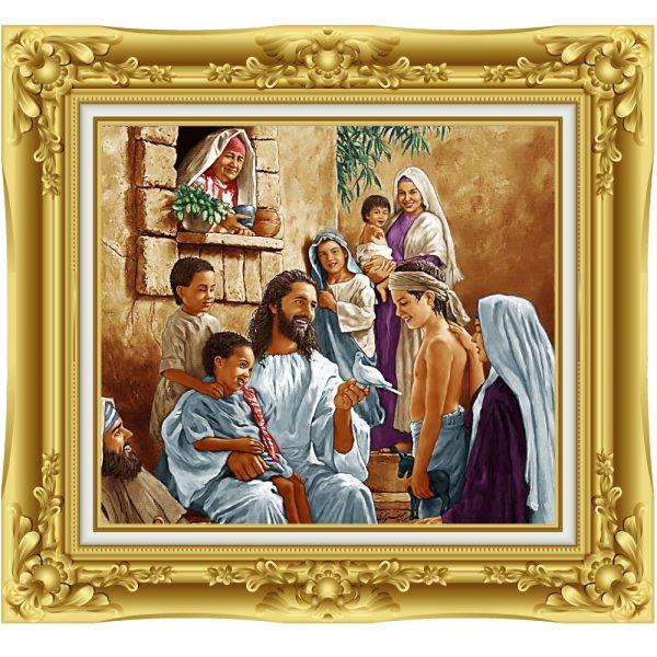 تابلو فرش دستباف حضرت مسیح و کودکان