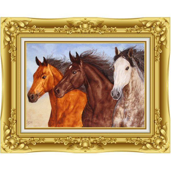 تابلو فرش دستباف سه اسب