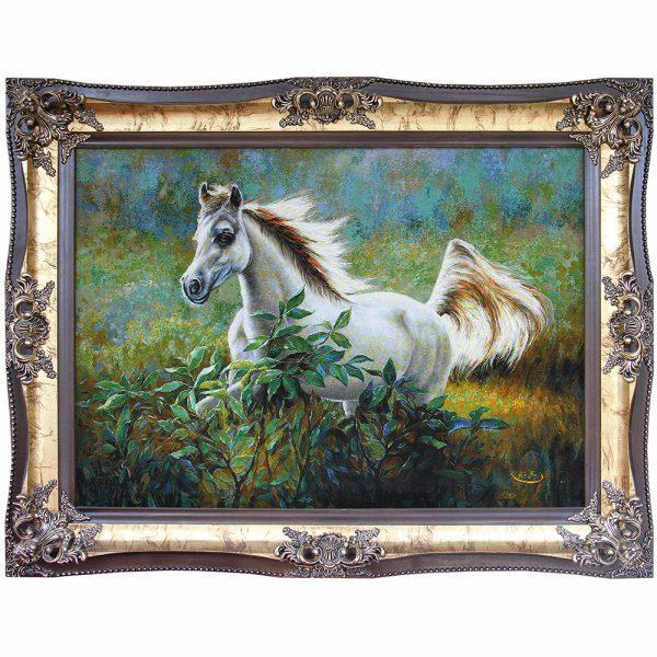 تابلوفرش دستباف اسب یال طلا 21410