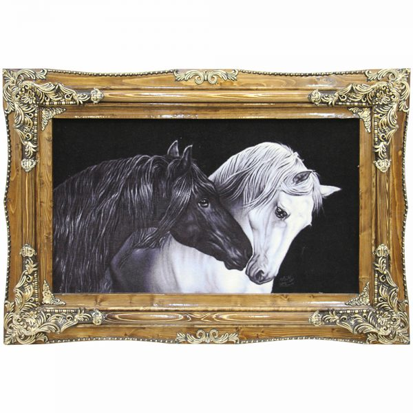 تابلو فرش دستباف اسبهای سیاه و سفید 21699
