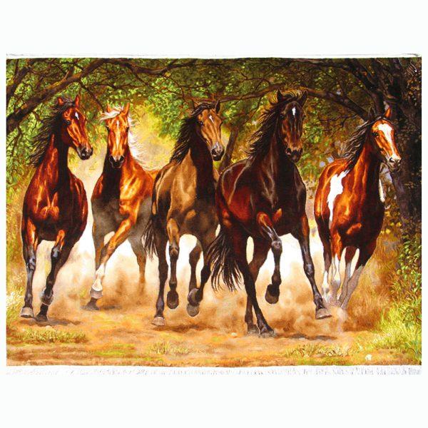 تابلوفرش دستباف گله اسب قهوهای کد 021792
