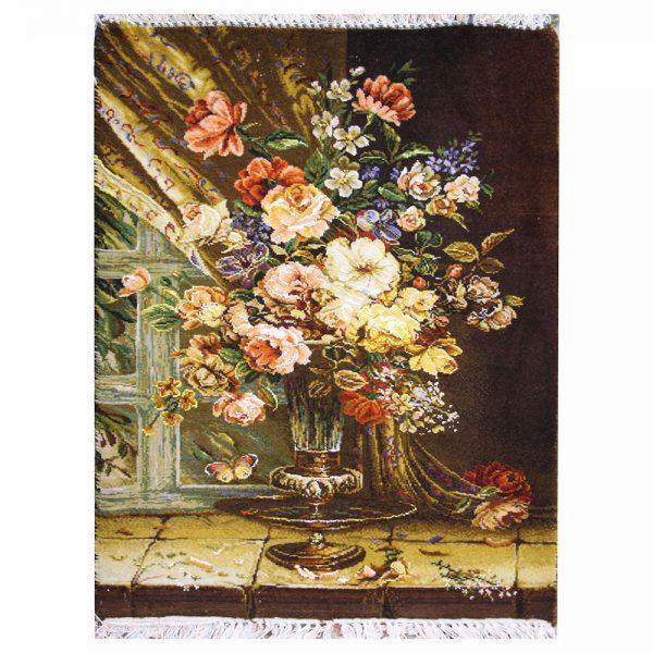 تابلوفرش دستباف گلدان پشت پنجره