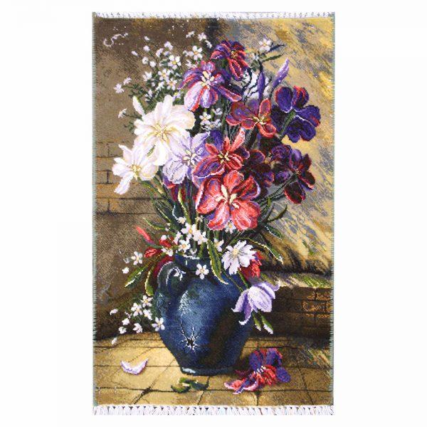 تابلو فرش دستباف گل گلدان سفال 71309
