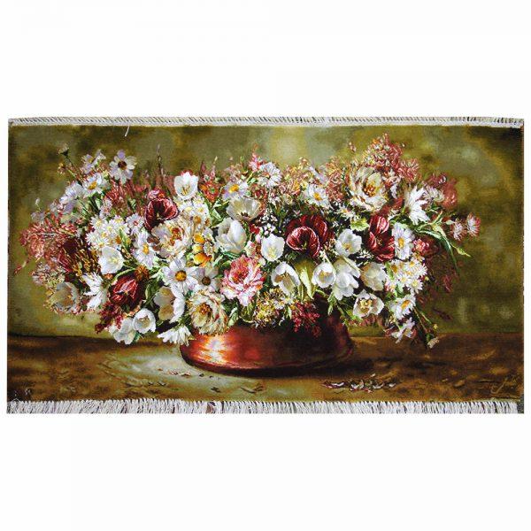 تابلوفرش دستباف گلهای طشت مس کد 71353