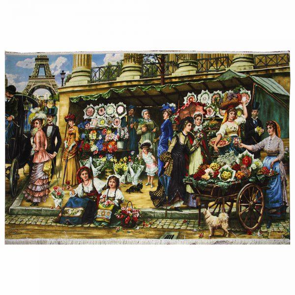 تابلوفرش دستباف مدل بازار گلفروشان پاریس