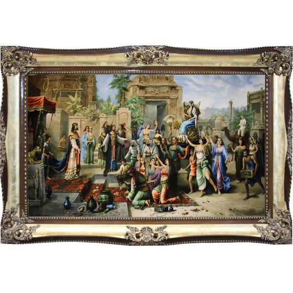 تابلو فرش دستباف دیدار حضرت سلیمان با ملکه سبا (تخت سلیمان)