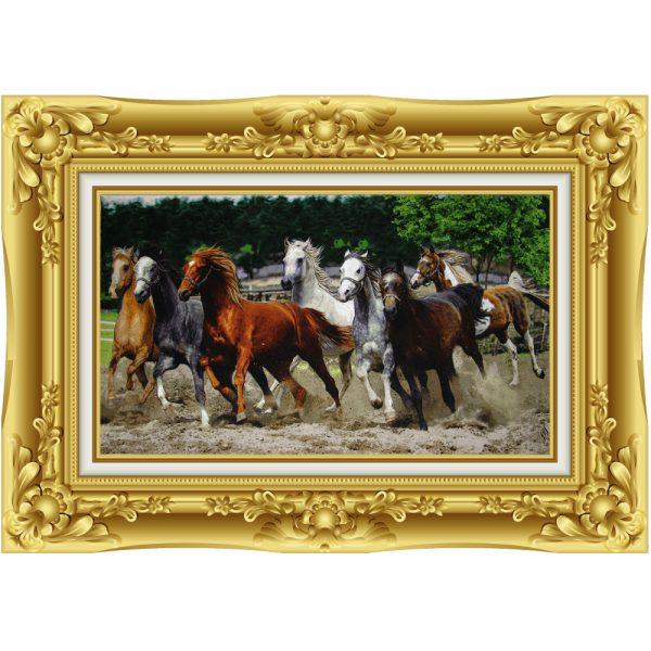 تابلوفرش دستباف گله اسب جنگل