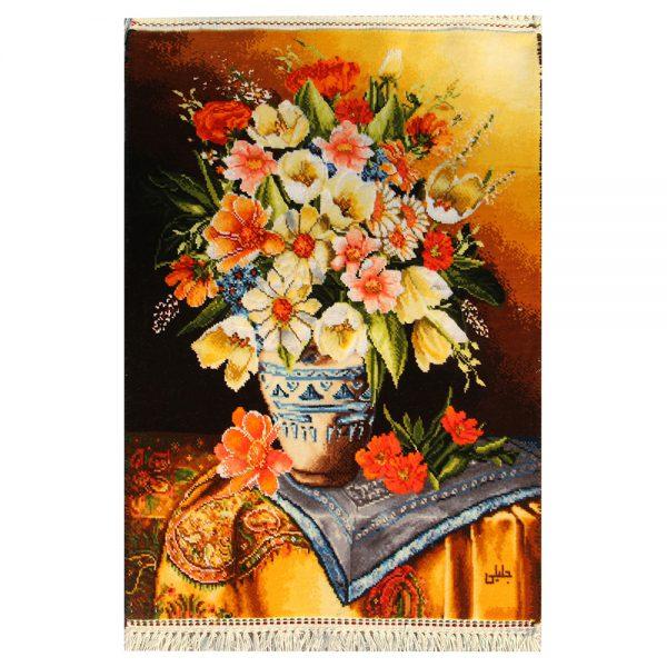 تابلوفرش دستباف گل گلدان سفالی کد 71283